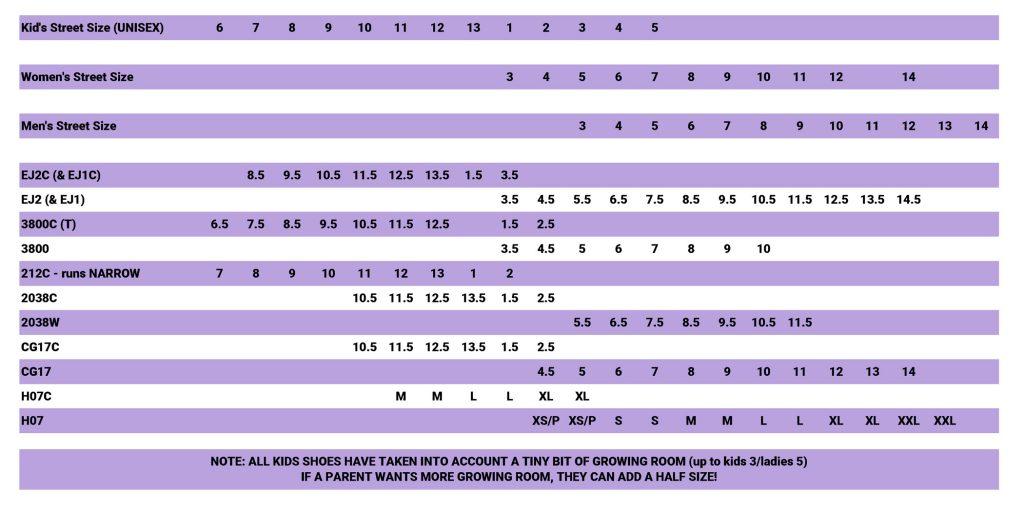 shoe size chart 2020